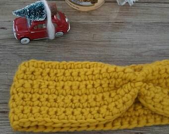 Turban Wool Ear Band-fascia scaldatesta-wolly headband warmer-wool cap-crochet-made in Italy