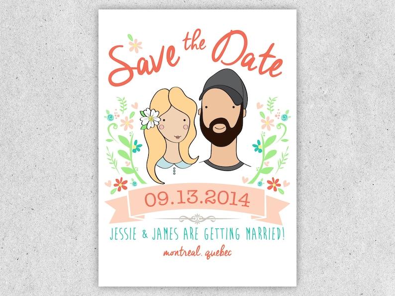Custom Wedding Save the Date Portrait image 0
