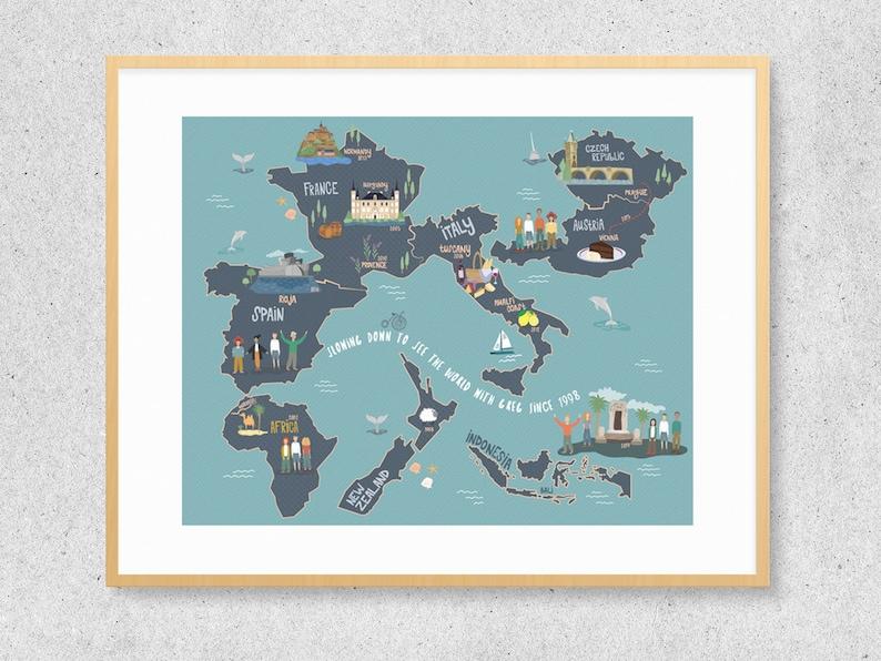 Custom Illustrated Travel Map image 0