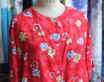 Red floral ladies blouse REF 583