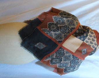 Brown patchwork patterned scarf REF 885