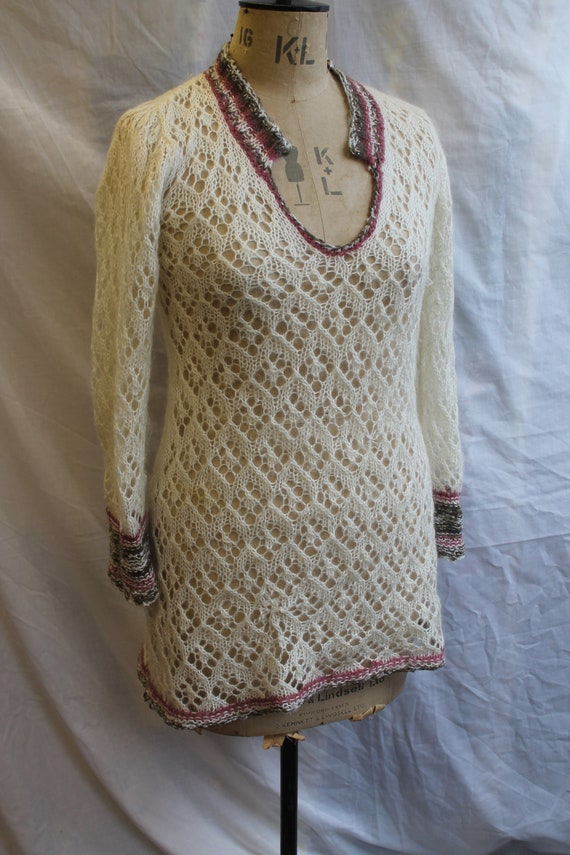 Cricket style long lace knit jumper with Collar RE