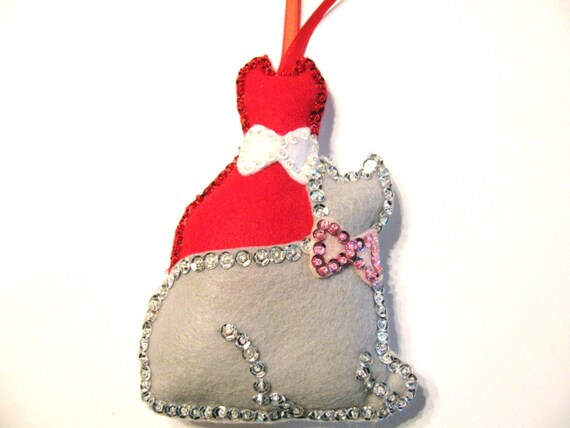 Hanging Christmas Ornaments Silhouette.Silhouette Cat Felt Ornaments Christmas Ornament Hanging Ornament Tree Ornaments Cat Ornaments