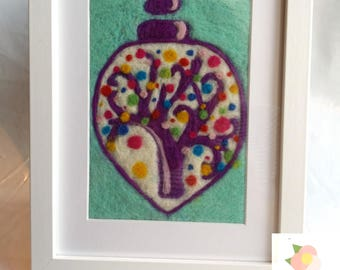 Tree of life felt picture, needle felted framed bauble picture containing a colourful Tree of live