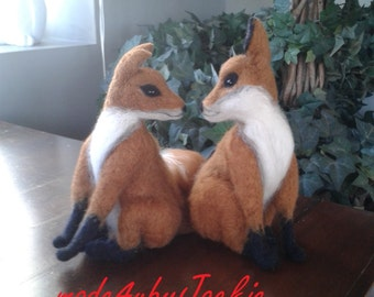 Needle felted animal - Kissing fox - Felted animal - Felted fox - Gift for her - Needle felted fox - Gift Needle felted Animal, felted toy