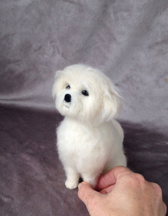 Needle felted dog - Felted Shih tzu - Felted dog - needle felted Shih tzu - Needle felted Maltese - needle felted animal - gift for her