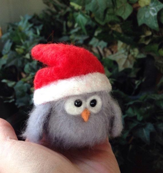 Needle felted animal,felted Christmas owl, felted owl, gift for her, Christmas gift, baby barn owl, barn owl, gift idea ooak handm