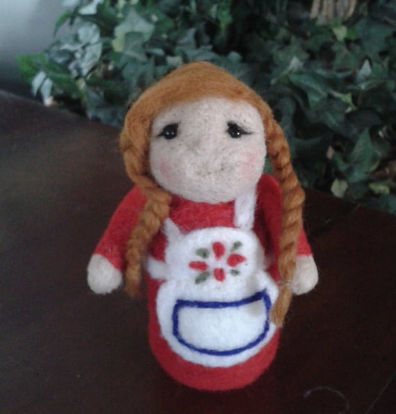 Felted Girl doll Needle Felted doll Miniature doll Waldorf Inspired girl doll Handmade OOAK Ready to ship