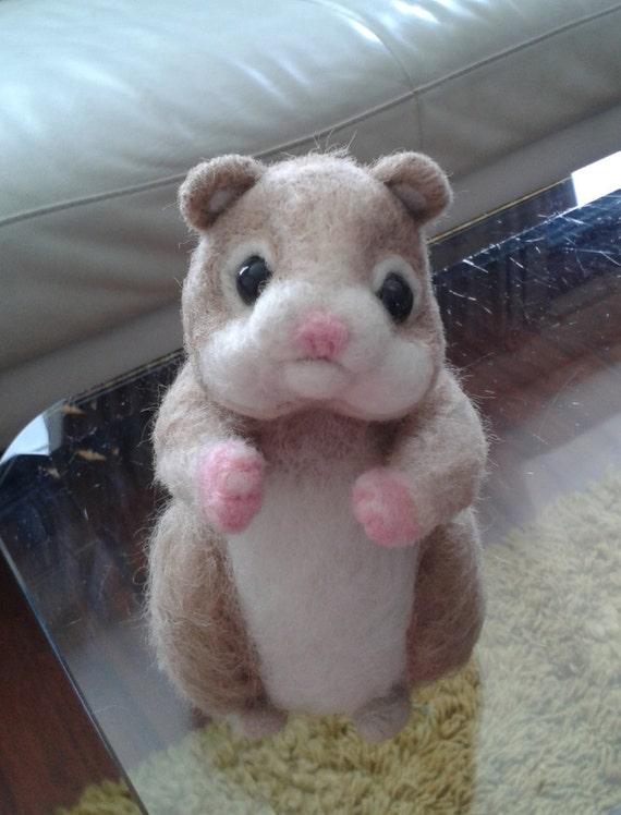 Needle Felted Animal, Felted Hamster, OOAK , Pet Handmade Ready To Ship Gift Idea Hamster pet Mothers Day Gift