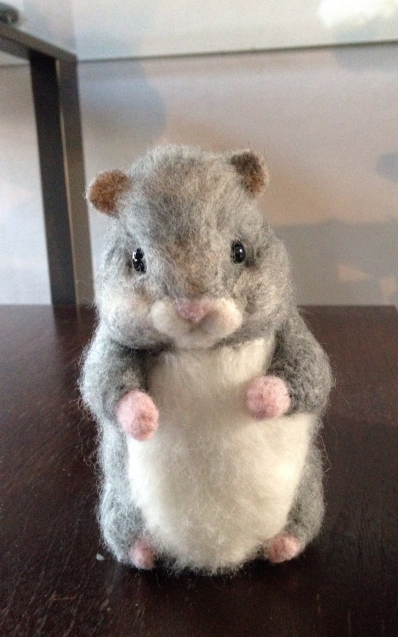Needle Felted Animal Needle Felted Hamster grey  life size hamster  OOAK Handmade soft sculpture miniature pet Gift Idea Hamster pet unique