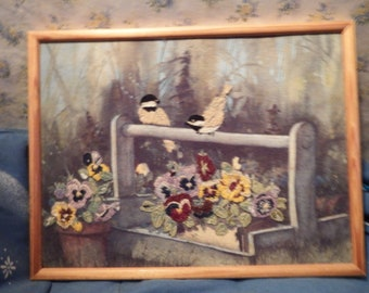 """Birds Sitting on Wooden Flowerbox Filled with Flowers Completed and Framed Vintage Needlepoint 17"""" x 12"""" Nice Springtime Piece"""