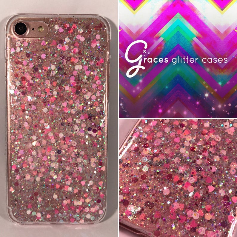 detailed pictures 926a5 3d858 Love Hearts - Hot pink and baby pink iPhone 6 case - iPhone 7 Case - iPhone  8 case - iPhone 8 Plus - Samsung S8 - Google Pixel