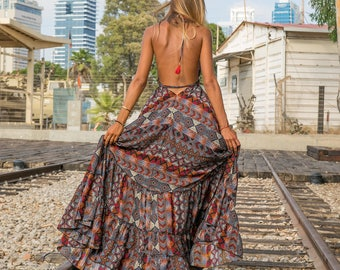 f47d1f6e1c4 Boho maxi dress in tribal print women s summer dress royal bohemian resort  collection long dress festival clothing halter dress sexy dress