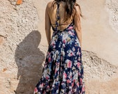 boho floral maxi dress open back dress pom pom floral print summer bohemian dress