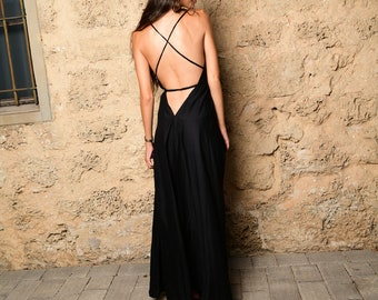 51d66de80da Black maxi dress for woman open back dress evening dress prom dress bohemian  clothing open back dress halter dress festival wedding