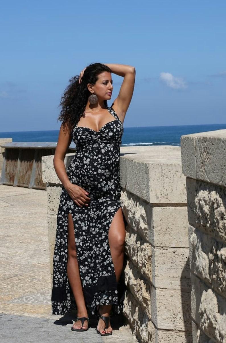 56503d0257abb Boho floral slit dress/boho maxi dress for | Etsy