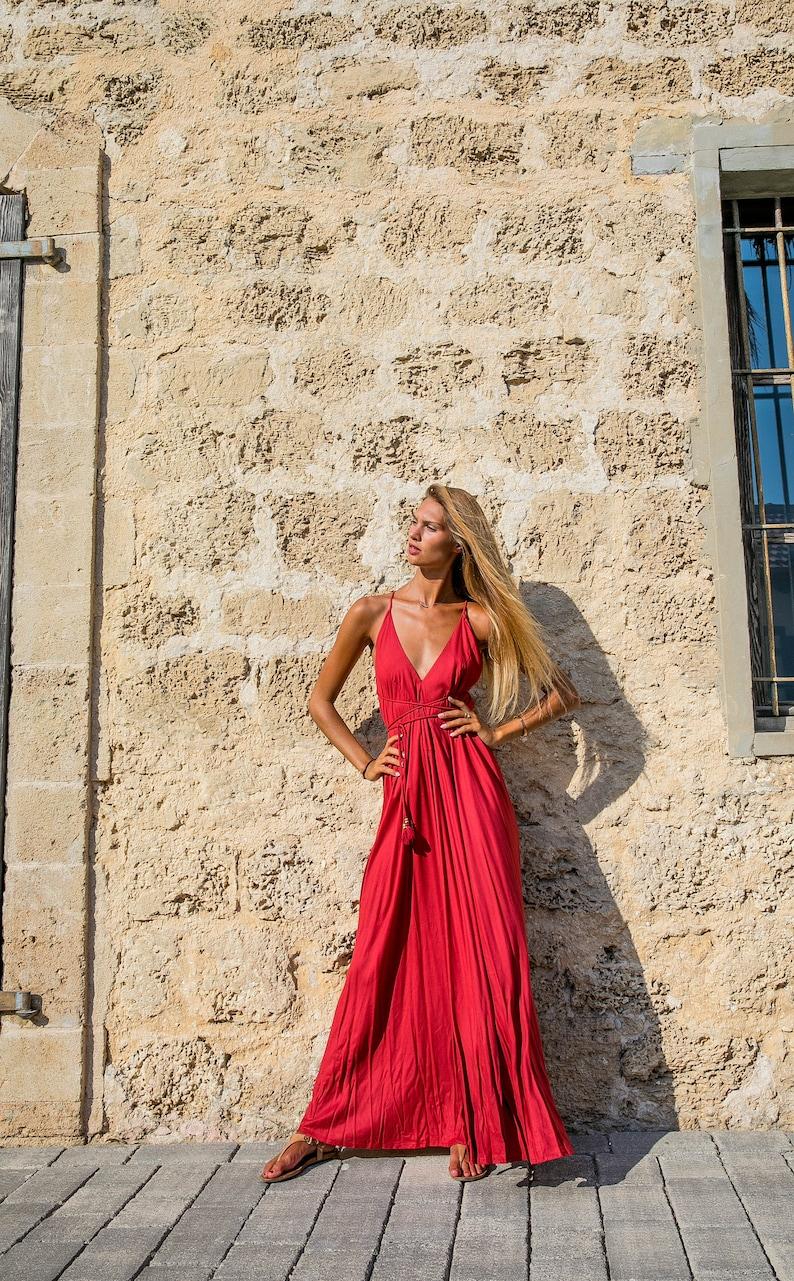 491a3c533c1 Red dress boho open back maxi dress backless dress low back