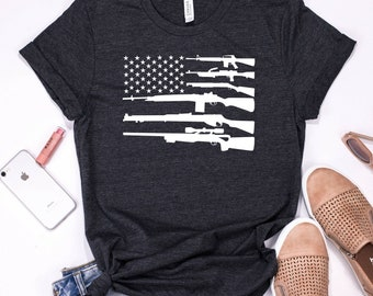 e982cd2ac1 American Flag Gun Shirt | Tank Top | V-neck | Longsleeve | Sweatshirt |  Hoodie | Rifle Owner Tee | Gun Rights Tshirt | 2nd Amendment