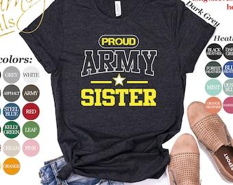 74ef6b22b6064 Proud Army Sister Shirt | Tank Top | V-neck | Long sleeve | Sweatshirt |  Hoodie | Mug | Armed Forces | U.S Military | Pregnancy Announcement