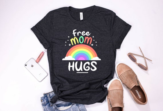 Free Mom Hugs LGBT Pride Month Gay Lesbian Bisexual Rainbow Sweatshirt