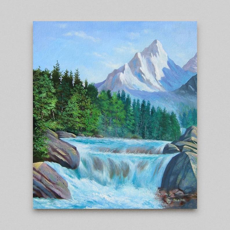 Forêt verte rivière paysage single toile murale art imprimé photo