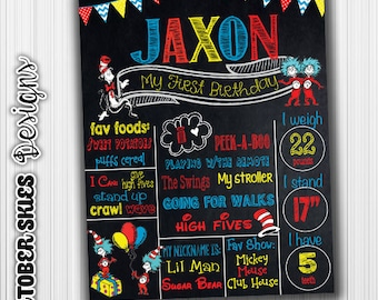 Dr Suess Birthday Chalkboard- First Birthday Milestone- Chalkboard- Cat in the Hat, Poster, Sign