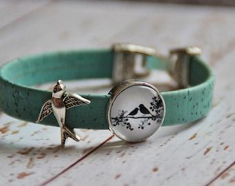 Cork bracelet and glass bird cork bracelet