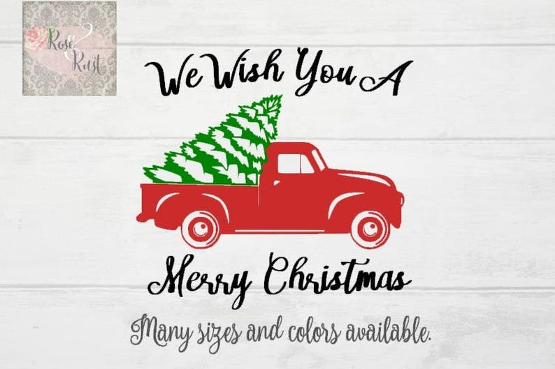 Vintage Red Truck Christmas Decor.Red Truck Christmas Tree Decal Red Truck Decal Vintage Christmas Decal Decals For Making Signs Christmas Crafts Christmas Decor