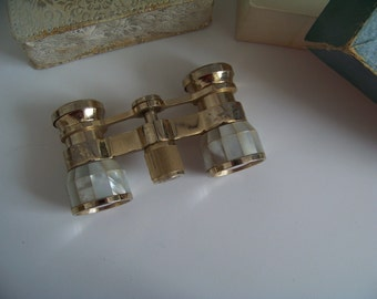 Mother of Pearl and Gold Coloured Vintage Opera Glasses