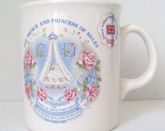 Vintage Prince William Pottery Co. England Mug to Commemorate Birth of Prince William - June 1982
