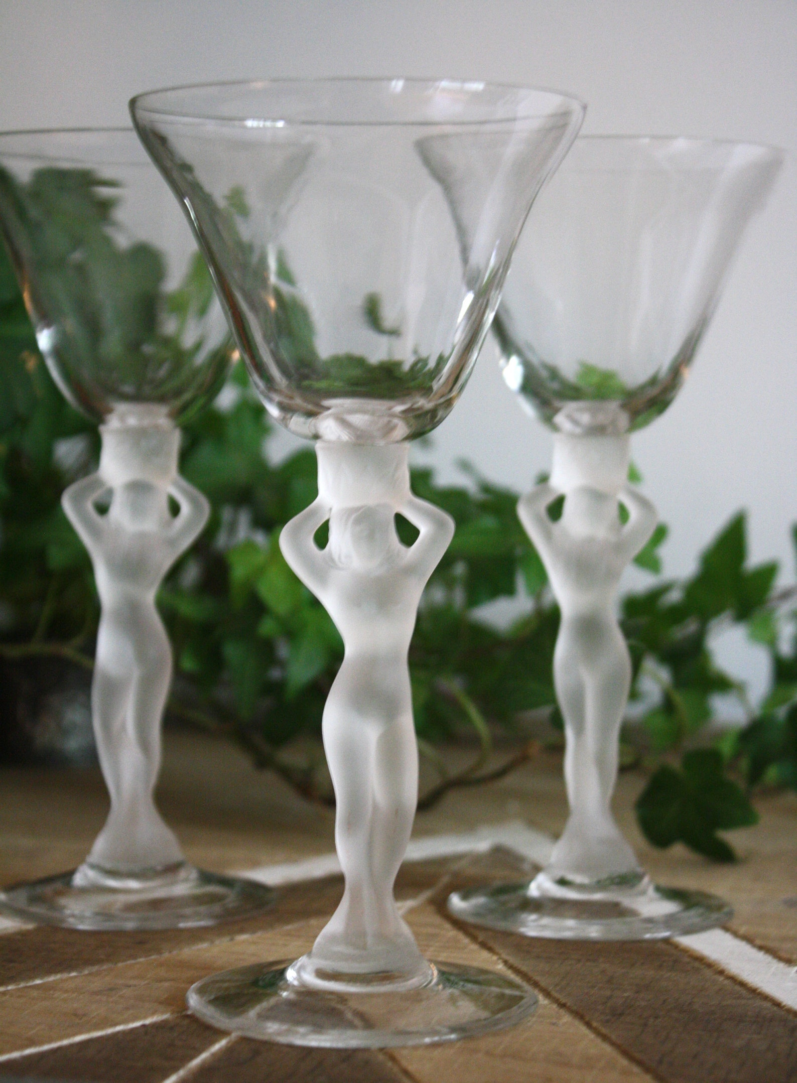 Wine Glass-Bacchus Modest Male Nude Frosted Stem Wine
