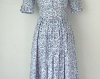Vintage 1980s Laura Ashley Cotton Tea Dress