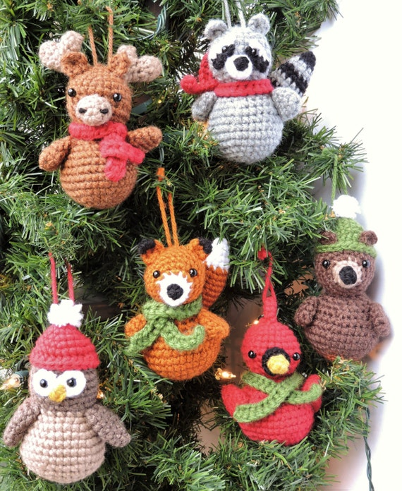 Crochet Christmas Ornament Pattern Woodland Animal Crochet | Etsy