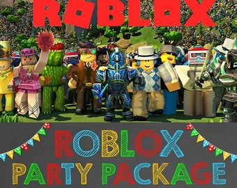 Roblox Birthday Party Package Chalkboard Printables Favors Sign