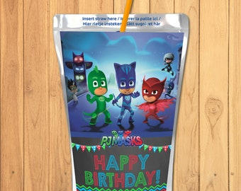 Pj Masks Capri Sun Label Chalkboard Drink Labels Party Printables Birthday Favors 100010