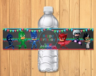 2037673183 Pj Masks Drink Label Chalkboard   Pj Masks Water Bottle Wrap   Pj Masks  Party Printables   Pj Masks Birthday   Pj Masks Party Favors 100010