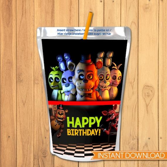 Five Nights at Freddy's Capri Sun Label Chalkboard - FNAF Birthday Party - 5 Nights Freddys Drink Pouch Label - 5 Nights Freddy's Video Game