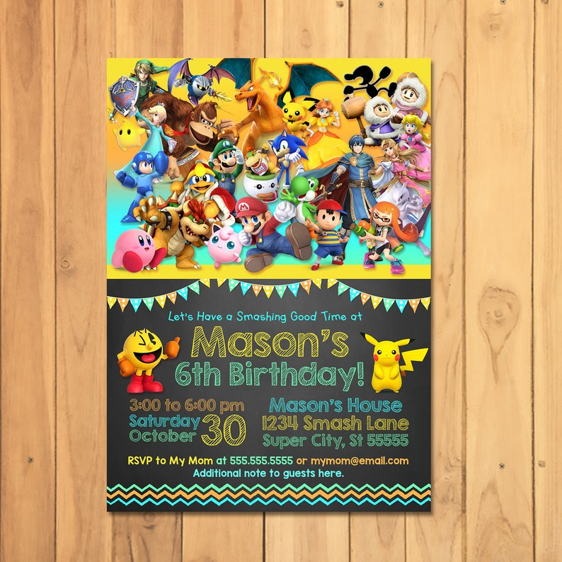 Super Smash Brothers Invitation - Super Smash Brothers Birthday Party - Nintendo Party Printables - Video Game Party Invite - 100930