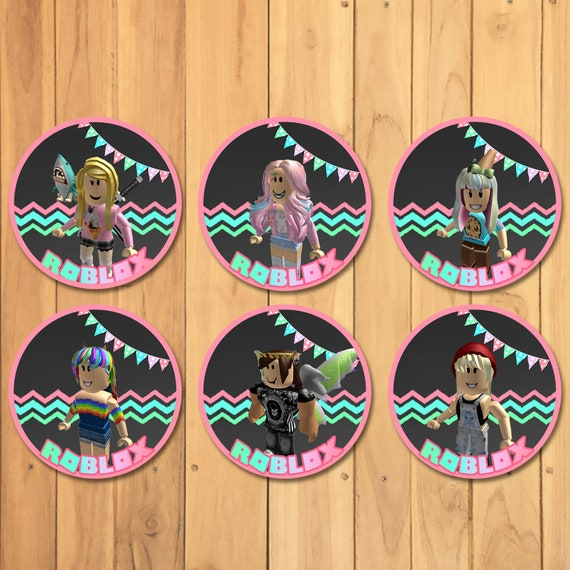 Girl Roblox Cupcake Toppers Pink Roblox Stickers Roblox Etsy