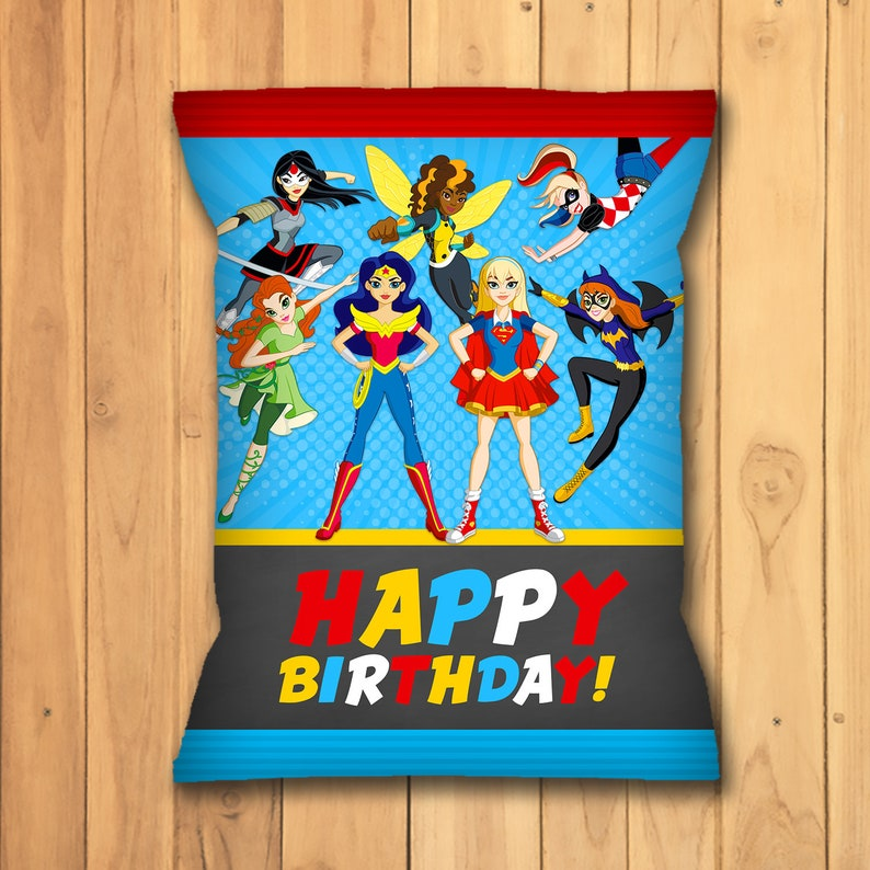 DC Superhero Girls Chip Bag Label - DC Superhero Girls Snack Bag Label - DC Superhero Girls Favors - Dc Superhero Girls Birthday - 100695