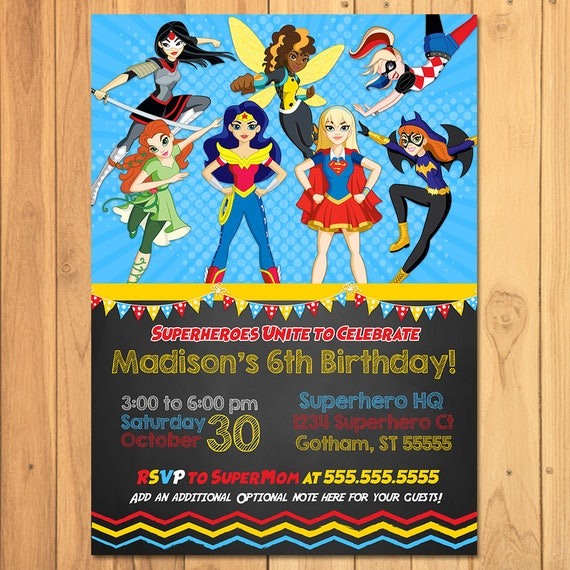 Dc Superhero Girls Invitation Chalkboard Girl Superhero Etsy