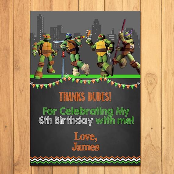 Teenage Mutant Ninja Turtles Thank You Card Chalkboard Tmnt Etsy
