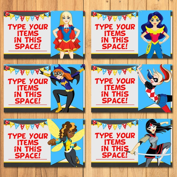 DC Super Hero Food Tents Chalkboard - DC Super Hero Girls Place Cards Tents - Dc Superhero Girls Birthday Party Printable Food Labels