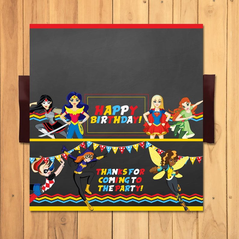 DC Superhero Girls Candy Bar Wrapper - DC Superhero Girls Chocolate Bar - DC Superhero Girls Favors - Dc Superhero Girls Birthday - 100695