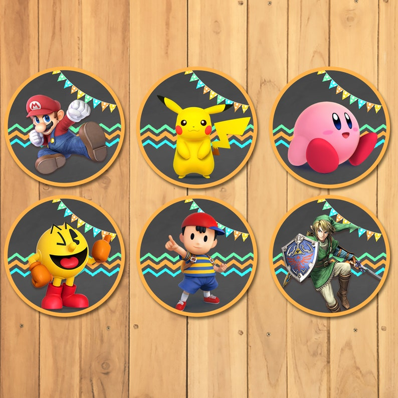 Super Smash Brothers Cupcake Toppers 24 - Super Smash Brothers Birthday Party - Nintendo Party Printables - Video Game Party Stickers 100930