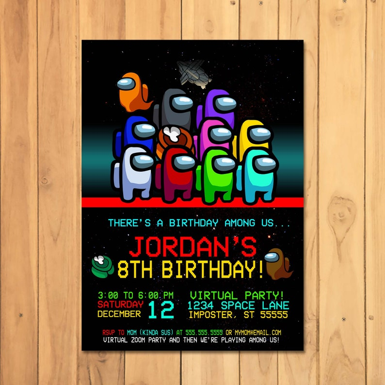 Among Us Invitation - Among Us Birthday Party - Virtual Birthday Party - Video Game Party Printables - Video Game Party Invite - 101062