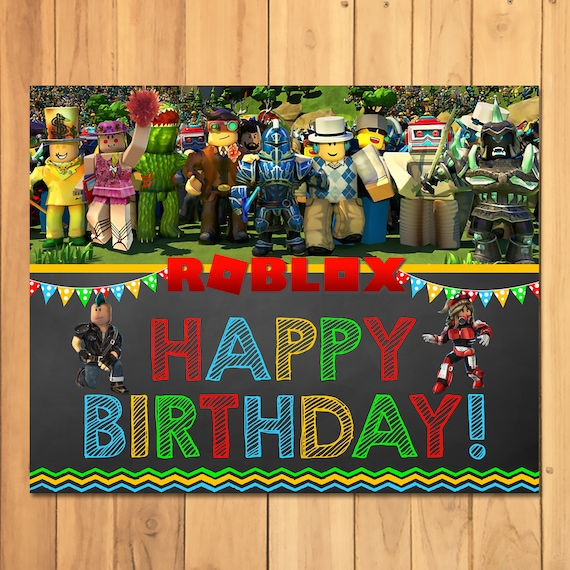 Roblox Happy Birthday Sign Chalk Roblox Birthday Party Banner Roblox Party Printables Roblox Party Favors Roblox Video Game 100694 - how to change ur birthday on roblox
