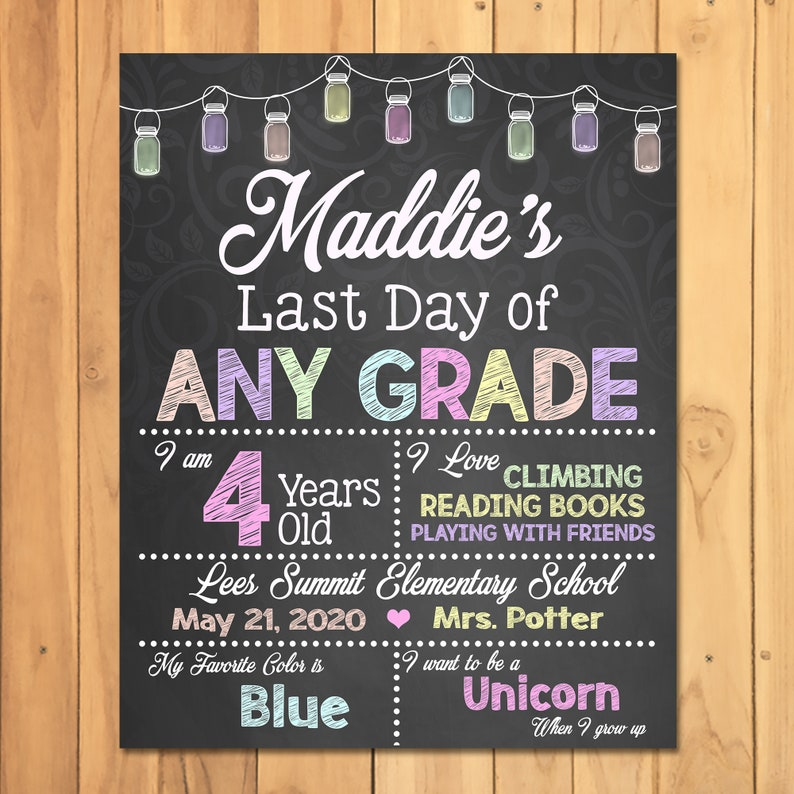 Last Day of School Chalkboard Sign Photo Prop - Chalkboard Last Day of Preschool Kindergarten - Personalized Last Day Sign - ANY GRADE