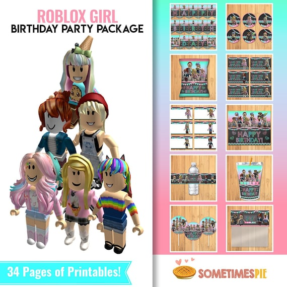 Girl Roblox Birthday Party Package Pink Roblox Birthday Party Roblox Party Favors Roblox Birthday Party Printables 100926 - roblox music codes unforgettable roblox free backpack