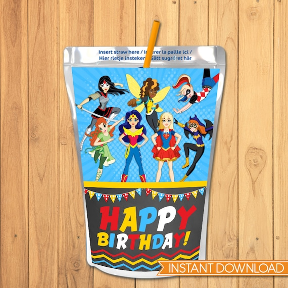 DC Superhero Girls Capri Sun Label - DC Superhero Girls Drink Pouch Label - DC Superhero Girls Favors - Dc Superhero Girls Birthday